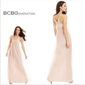New BCBGeneration Pink Lace Maxi Dress